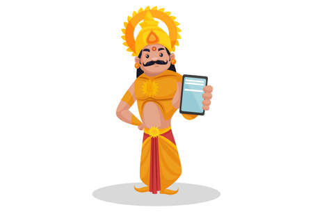 Karna is showing a mobile phone. Vector graphic illustration. Individually on a white background.