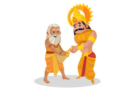 Karan is donating gold coins to the saint. Vector graphic illustration. Individually on a white background.