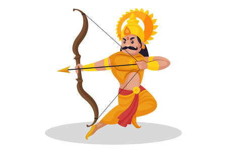 Karna is holding bow-arrow and fighting in the war. Vector graphic illustration. Individually on a white background. Ilustração