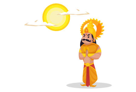 Karan is greeting to god sun. Vector graphic illustration. Individually on white background. Ilustração
