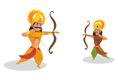 Karna is fighting war with Arjuna. Vector graphic illustration. Individually on a white background.