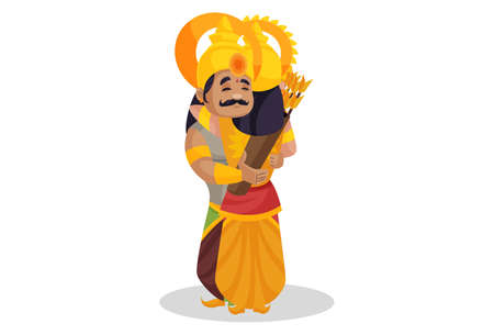 Karna is hugging his friend Duryodhana. Vector graphic illustration. Individually on a white background. Ilustração