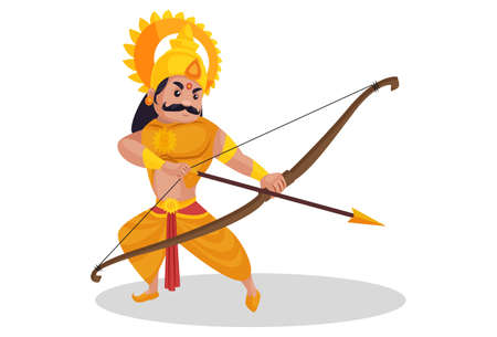 Karna is attacking with bow-arrow. Vector graphic illustration. Individually on a white background. Ilustração