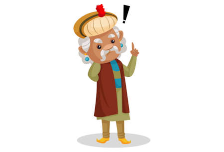 Vector graphic illustration. King Akbar is confused. Individually on a white background. Ilustração