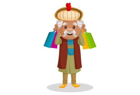 Vector graphic illustration. King Akbar is holding shopping bags in his hands. Individually on a white background.