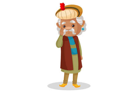 Vector graphic illustration. King Akbar is doing salam. Individually on a white background.