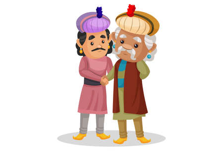 Vector graphic illustration. King Akbar is shaking hand with a man. Individually on a white background. Ilustração