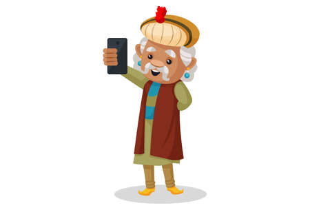 Vector graphic illustration. King Akbar is clicking selfie with mobile phone. Individually on a white background.