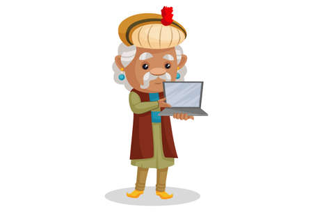 Vector graphic illustration. King Akbar is showing a laptop. Individually on a white background. Ilustração