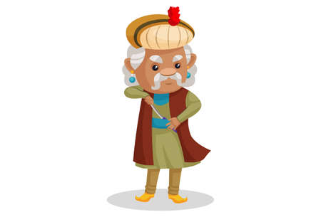 Vector graphic illustration. King Akbar is with a sword. Individually on a white background.