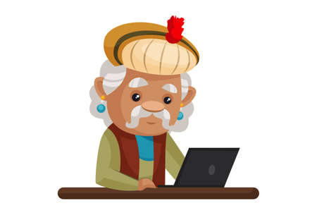 Vector graphic illustration. King Akbar is working on a laptop. Individually on a white background. Ilustração