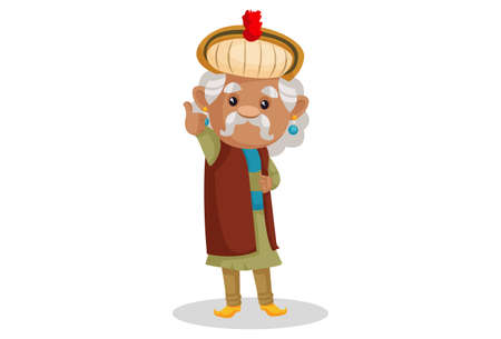 Vector graphic illustration. King Akbar is showing thumbs up. Individually on a white background.