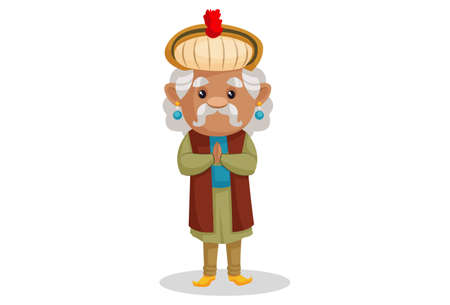 Vector graphic illustration. King Akbar is with greet hands. Individually on a white background.