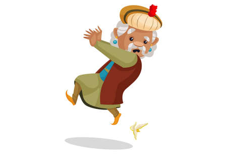 Vector graphic illustration. King Akbar is slipping down from banana peel. Individually on a white background.