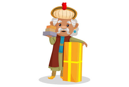 Vector graphic illustration. King Akbar is with gift boxes. Individually on a white background. Ilustração