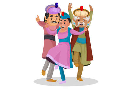Vector graphic illustration. King Akbar is dancing with people. Individually on a white background. Ilustração