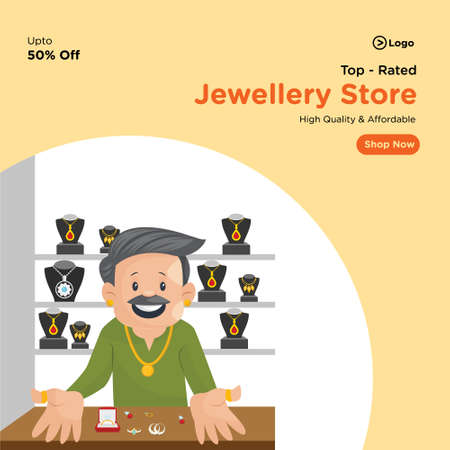 Banner design of top rated jewellery store. Vector graphic illustration.