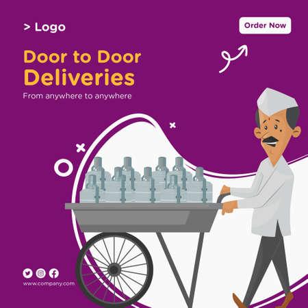 Banner design of door to door deliveries template. Vector graphic illustration.