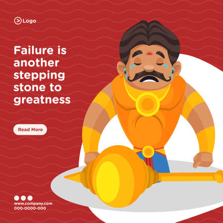 Banner design of failure is another stepping stone to greatness. Vector graphic illustration.