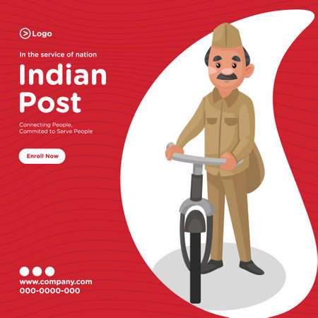 Banner design of indian post service cartoon style template. Vector graphic illustration. Vector Illustration