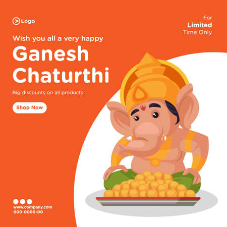 Banner design of ganesh chaturthi indian festival cartoon style template. Vector graphic illustration.