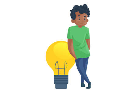 Office boy is standing with bulb. Vector graphic illustration. Individually on a white background.