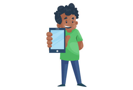 Office boy is showing phone. Vector graphic illustration. Individually on a white background.