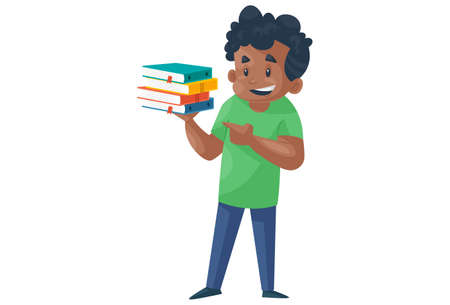 Office boy is holding books. Vector graphic illustration. Individually on a white background.