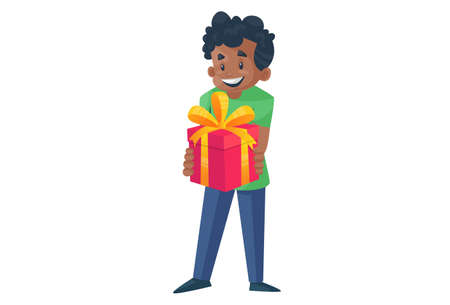Office boy is holding a gift box in his hands. Vector graphic illustration. Individually on a white background.