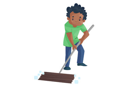 Office boy is holding the wiper and cleaning the floor. Vector graphic illustration. Individually on a white background. 矢量图像