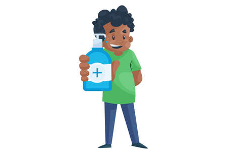 Office boy is holding a sanitizer bottle in hand. Vector graphic illustration. Individually on a white background.
