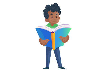 Office boy is reading a book. Vector graphic illustration. Individually on a white background. 矢量图像