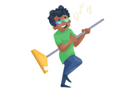 Office boy is singing song and holding wiper in hand. Vector graphic illustration. Individually on a white background.
