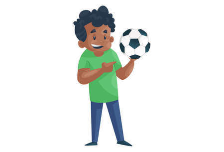 Office boy is holding football. Vector graphic illustration. Individually on a white background.