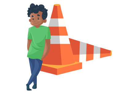 Office boy is standing with a barrier. Vector graphic illustration. individually on a white background. 矢量图像