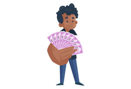 Office boy is showing money in hand. Vector graphic illustration. Individually on a white background. 矢量图像