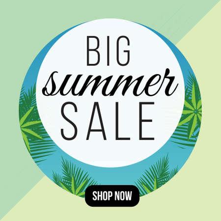 Big summer sale banner design template. Vector graphic illustration.