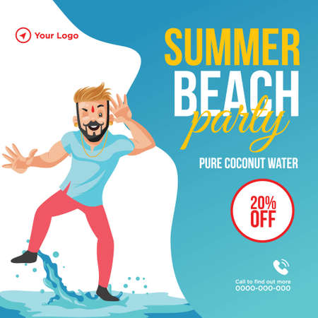 Summer beach party banner design template. Vector graphic illustration.