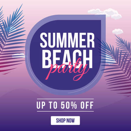 Banner design of summer beach party template. Vector graphic illustration.
