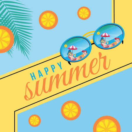 Banner design of happy summer template. Vector graphic illustration.