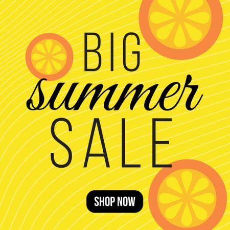 Banner design of big summer sale template. Vector graphic illustration.