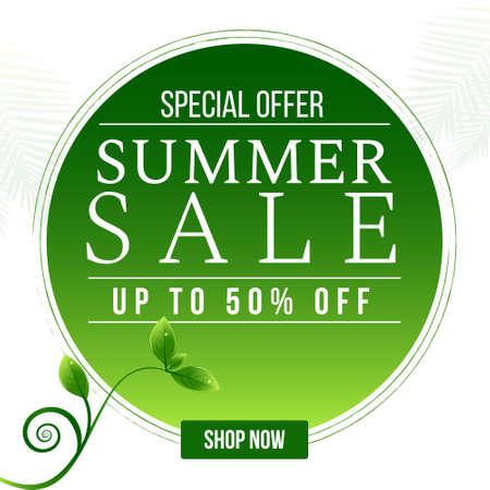 Special offer summer sale banner design template. Vector graphic illustration. 矢量图像