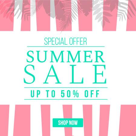 Special offer summer sale banner design. Vector graphic illustration. 矢量图像