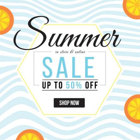Banner design of summer sale template. Vector graphic illustration. 矢量图像