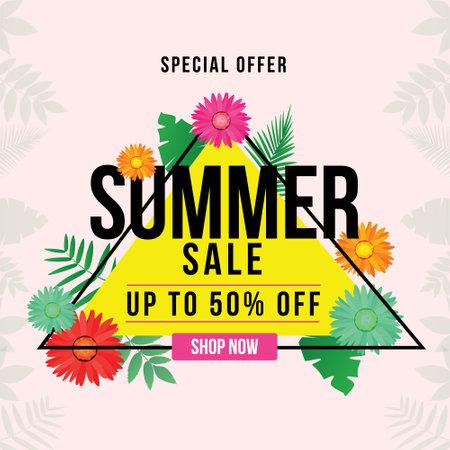 Banner design of special offer summer sale template. Vector graphic illustration.