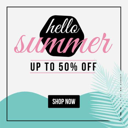 Hello summer banner design template. Vector graphic illustration. 矢量图像