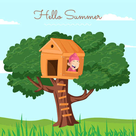 Hello summer banner design with Punjabi kid climbing on the wooden house on a tree. Vector graphic illustration.
