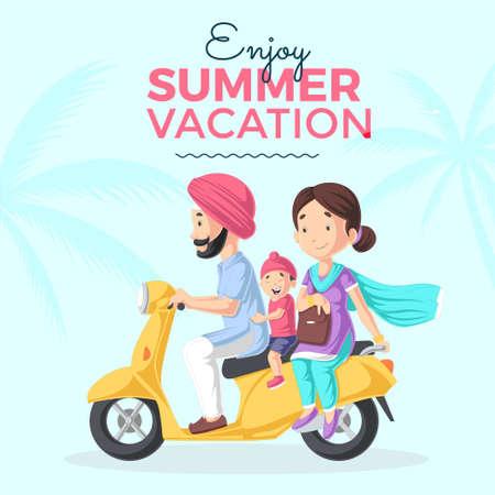 Enjoy summer vacation banner design template. Vector graphic illustration. 矢量图像