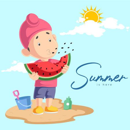 Summer is here banner design with Punjabi kid enjoying watermelon. Vector graphic illustration. 矢量图像