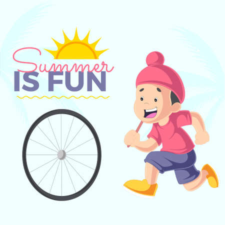 Summer is fun banner design template. Vector graphic illustration.